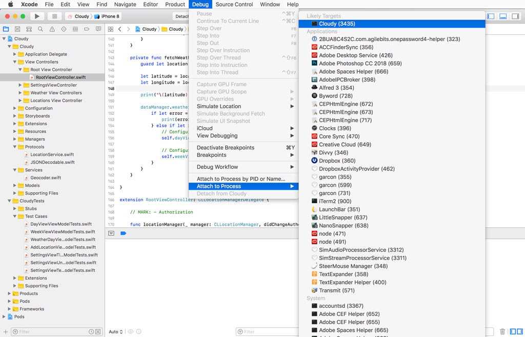 Attaching Xcode to a Running Application