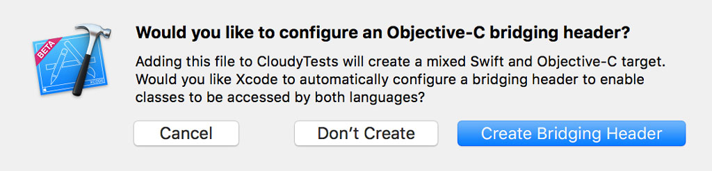 There's no need for an Objective-C bridging header.