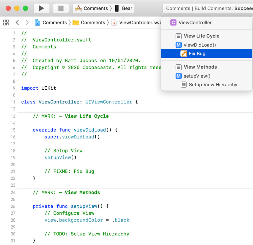 Adding a FIXME Annotation in a Swift File | Xcode 11 Jump Bar