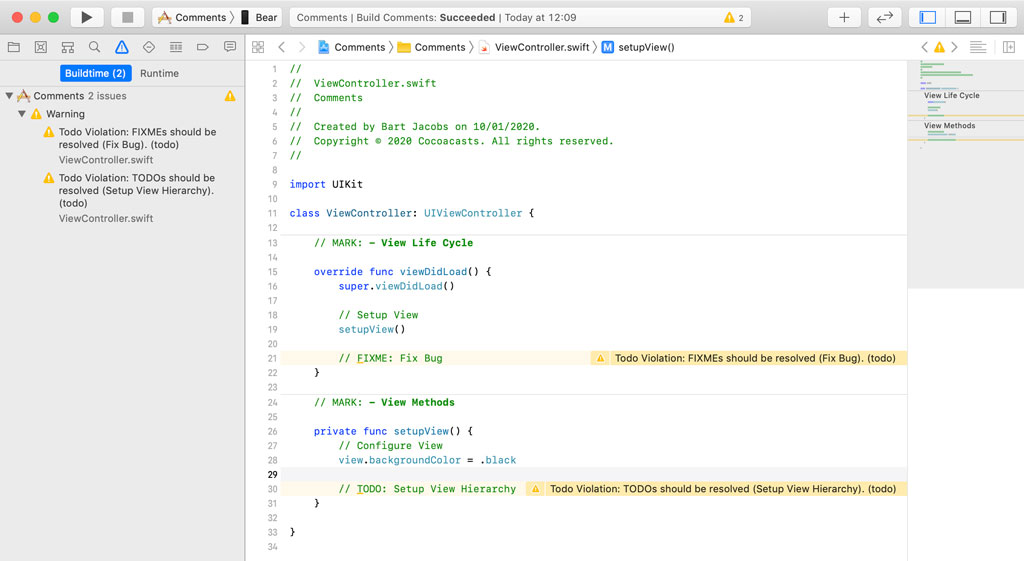 Using SwiftLint to Flag TODO's and FIXME's