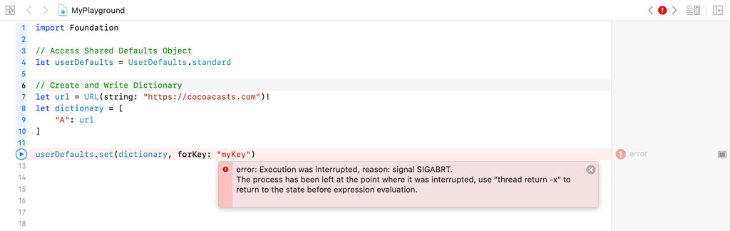 A runtime exception is thrown because URL isn't supported by the defaults system.
