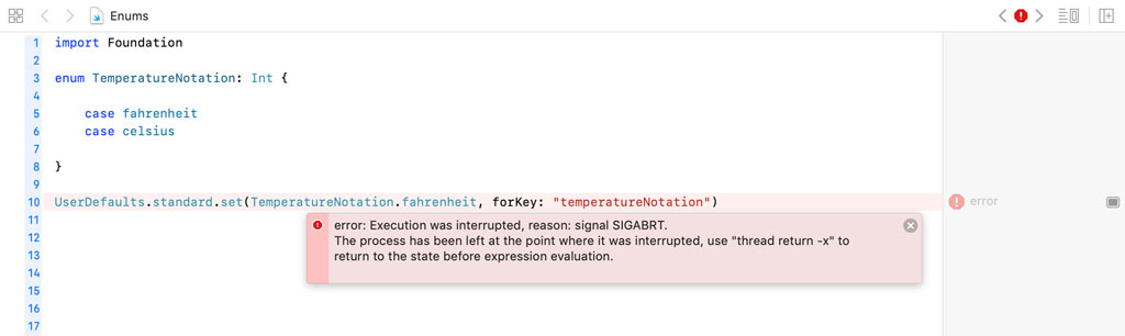 Storing an enum in the user's defaults database results in a runtime exception.