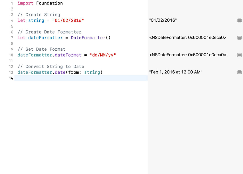 We need to set the dateFormat property of the DateFormatter instance.