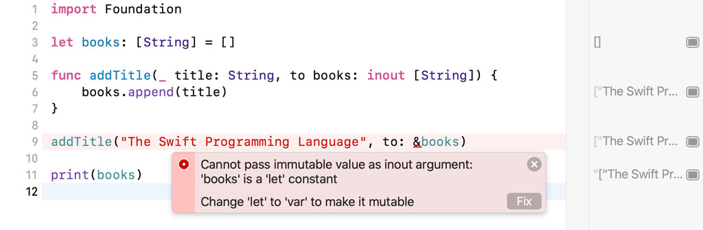Only variables can be passed as arguments to an in-out parameter.