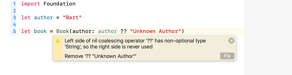 Only use the nil-coalescing operator if you are working with optionals.