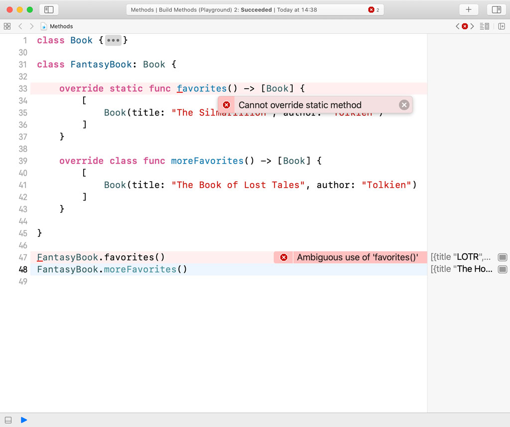 It isn't possible to override a static method in a subclass in Swift.