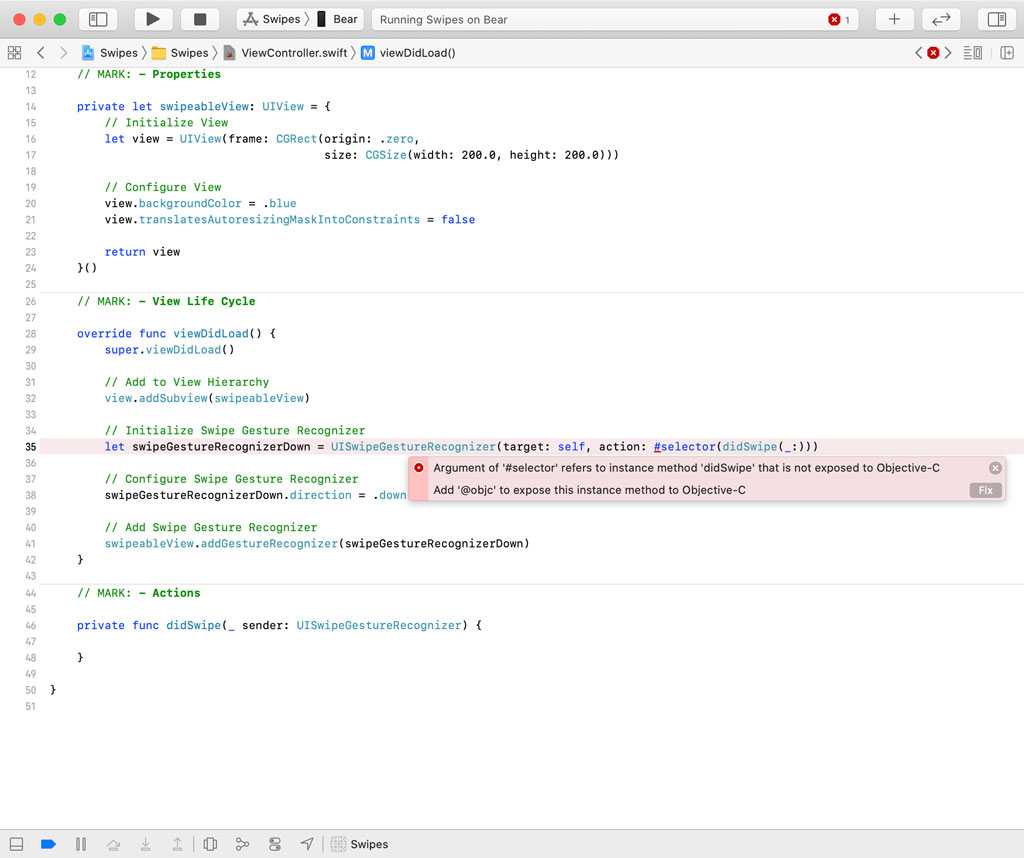 We need to prefix the method with the objc attribute to expose it to the Objective-C runtime.