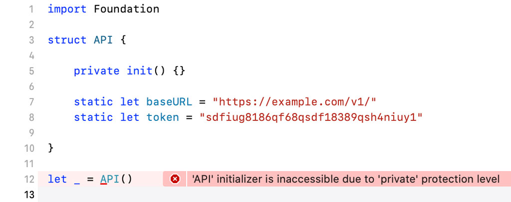 Declaring the initializer of the `API` struct privately makes it inaccessible to other parts of the project.