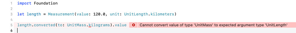 A runtime error is thrown if the units of measure don't match.