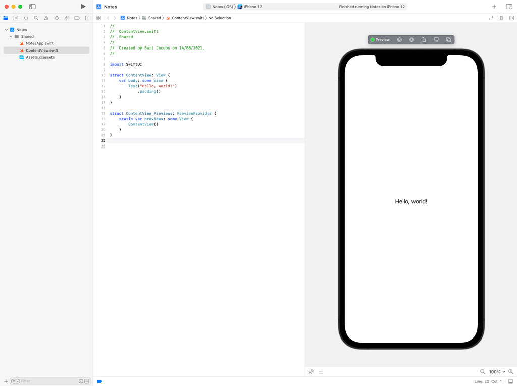 Previewing a SwiftUI Application