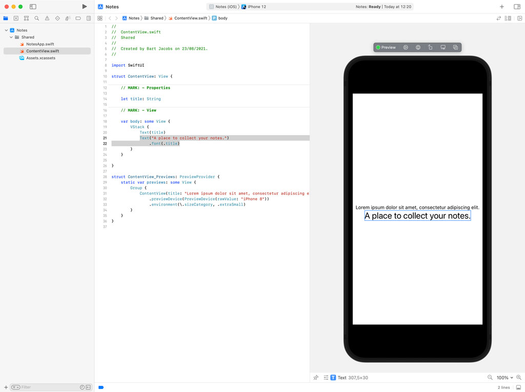 Using the Visual Editor in Xcode